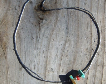 FREE SHIPPING!! Unpolished turquoise and coral necklace with sterling silver. Necklace was made in the 1980's. Has a barrel clasp.