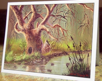 Blank Greeting Card - Oak and Cattails