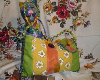 Springtime Bag Upcycled Fabrics Lovely Floral Forest Queen Bag