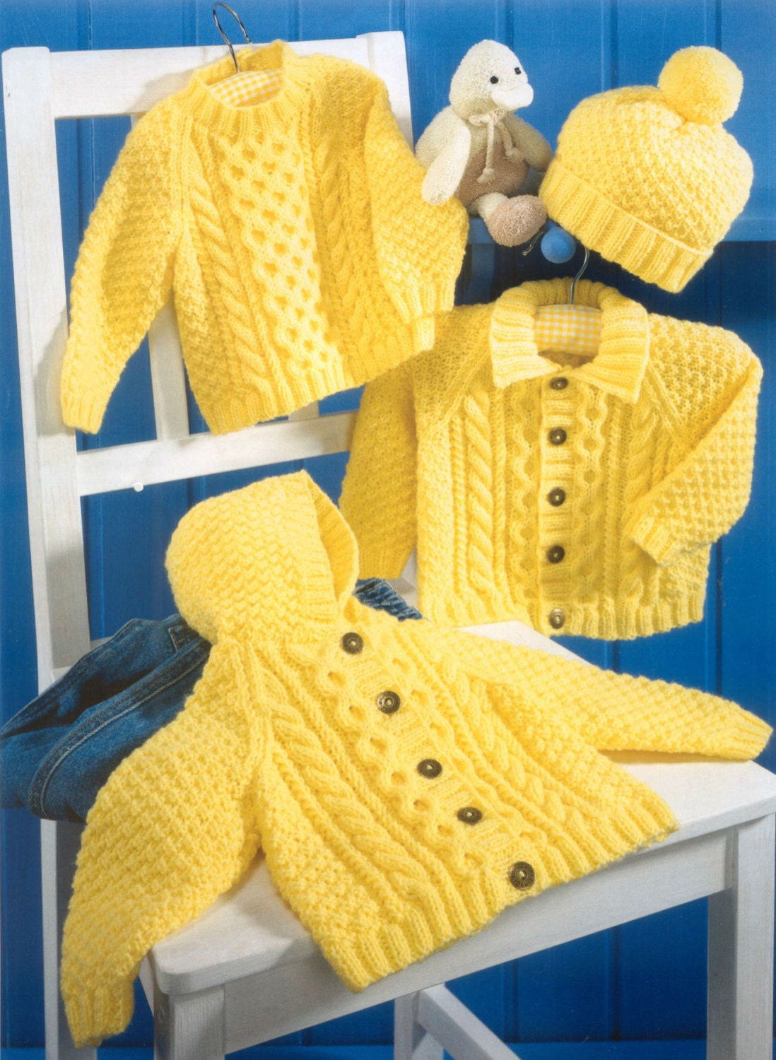 Knit Baby Cabled Cardigan Sweater Hooded Jacket Hat Vintage