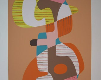 Figure - Mid Century Modern limited edition silkscreen print, signed and dated 1971, Artist's Proof