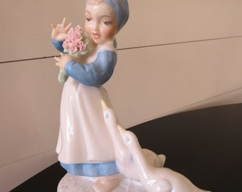 Vintage Holland Mold Figurine - Girl with Geese