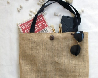 Natural Burlap Tote Bag- Blank,  black color handles with black nylon lining