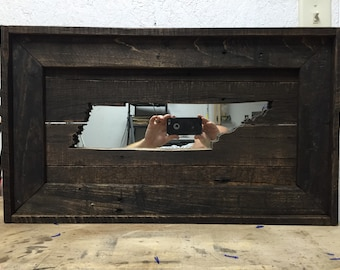Tennessee reclaimed wood mirror wall art.