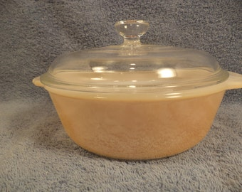 Peach Luster Anchor Hocking Fire King 1 Quart Covered Casserole Dish