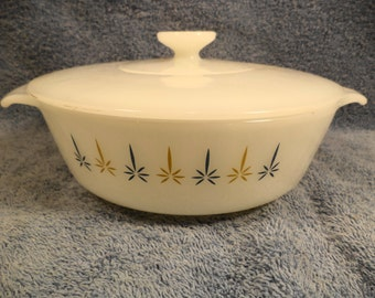 Candle Glow Anchor Hocking Fire King 1 Quart Covered Casserole Dish