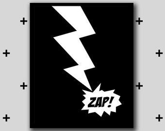 Printable zap monochrome superhero artwork - batman monochrome wall art - boys room superhero - INSTANT DIGITAL DOWNLOAD