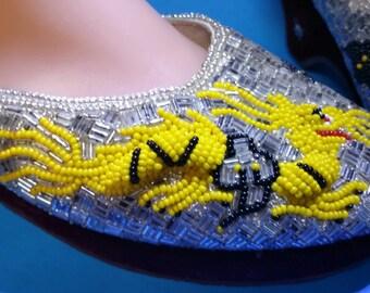 Beautiful Chinese Beaded Dragon Velvet Heel  Platform Shoes