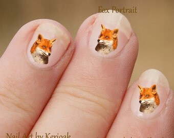 Fox wild animal Nail Art Stickers, decals, photographic nail art