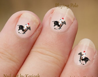 Polo Pony Nail Art,  Equine Nail Art Stickers, fingernail stickers, horse and rider, Polo sport, polo pony and rider nail art, decals