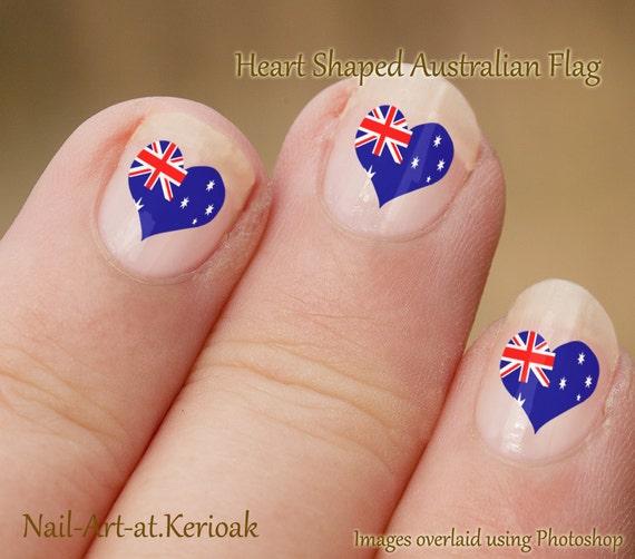 Australian Heart Shaped Flag Nail Art, Aussie Nail Art