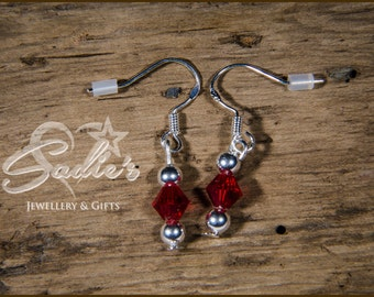 Gorgeous Sterling Silver and Ruby Red Swarvoski Bicone Earrings