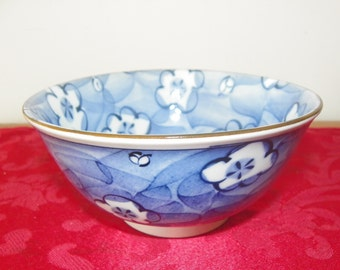 "Vintage Oriental Rice Bowl - Blue with Blue Flowers - 5 3/4"" Diameter"
