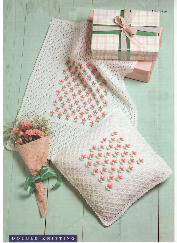 cot cover and cushion cover dk knitting pattern 99p