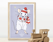 Poster / poster / iIllustration / table / stationery / map for child. format A5 * Winter - mouse *.