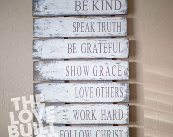 Family Rules Wood Sign | Christian Values sign | Family Values | Reclaimed Wood | Rustic Sign