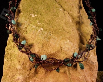 Fairy Copper Wire Necklace with semiprecious chips
