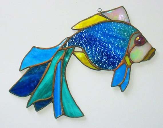 Stained glass souvenir fish style tiffany suncather by for Stained glass fish