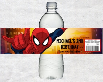Spiderman Water Bottle Labels Spiderman Water labels