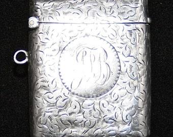 Deakin & Francis Sterling Silver Vesta (match safe) Birmingham 1949 - Inscribed JTB