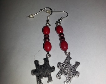 Red puzzle piece earrings, red earrings, silver earrings, puzzle earrings, red and silver earrings