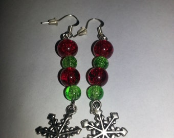 Red and green earrings, Snowflake earrings, christmas earrings, silver earrings