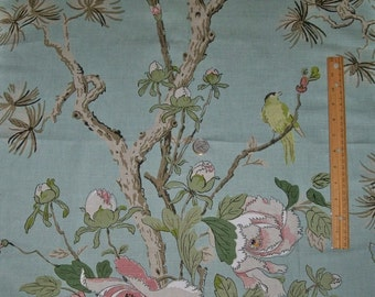 LEE JOFA Kravet Birds Trees Peony Linen Fabric 10 Yards Aqua Bark Rose Multi