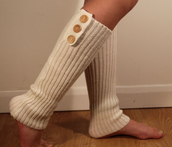 Knitted Creme White Leg Warmers Leg Warmers Buttons Ladies