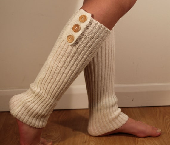 Knitting Pattern For Leg Warmers With Buttons : Knitted Creme White Leg Warmers Leg Warmers Buttons Ladies