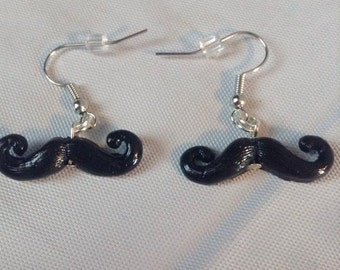 polymer clay mustache earrings