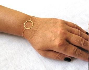 Circle Bracelet, gold bracelet, tiny circle bracelet, Karma bracelet, minimalist gold bracelet, dainty gold bracelet, friendship bracelet