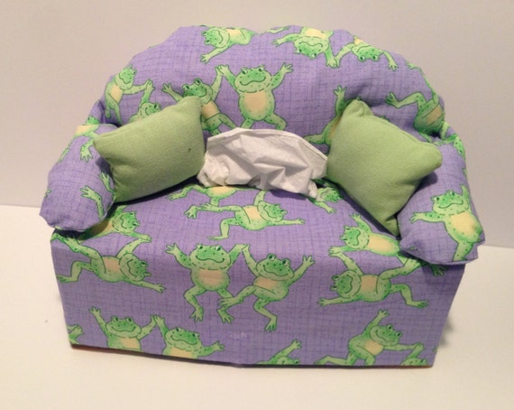Sofa Tissue Box Cover Frogs With Purple Background