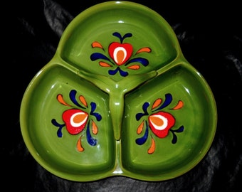 Vintage Japanese Porcelain Hand-Painted Dish, Divided Dish, Serving Dish, Snack Dish
