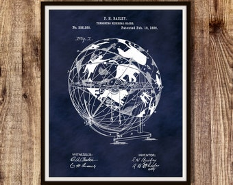Patent 1886 Terrestro-Sidereal Globe Art Print or Poster - Cosmosphere Astronomy Celestial Characters Stars Cosmos Constellations