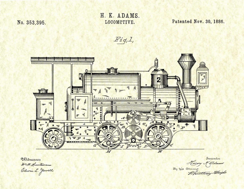 Patent 1886 locomotive art print train patent poster wall gallery photo gallery photo gallery photo gallery photo gallery photo malvernweather Gallery