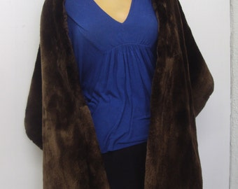 Refurbished new brown sheared beaver fur stole shawl wrap for women woman custom made