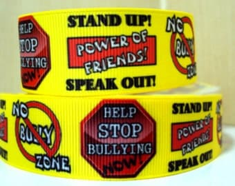 7/8 inch No Bully Zone - Anti Bullying Awareness - Printed Grosgrain Ribbon for Hair Bow