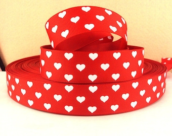 1 inch White Hearts On Red - Valentine's Day - Love - Printed Grosgrain Ribbon for Hair Bow