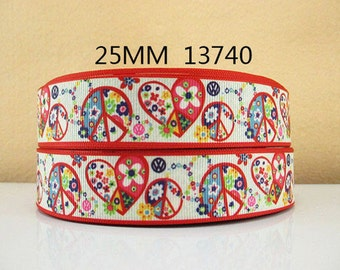 1 inch Hearts, Peace Symbol and Flowers on red Border - Printed Grosgrain Ribbon for Hair Bow