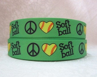 7/8 inch Peace and Heart Softball Baseball on Green - SPORTS - Printed Grosgrain Ribbon for Hair Bow