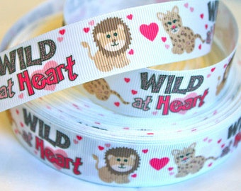1 inch Wild At Heart on White - Printed Grosgrain Ribbon for Hair Bow