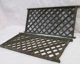 2 Flat Cast Iron Grates Fretwork Vent Covers Air Return Architectural Salvage d