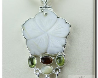 Mother of Pearl CARVED FLOWER MULTISTONE 925 Solid Sterling Silver Pendant + 4mm Snake Chain & Free Worldwide Shipping P1749