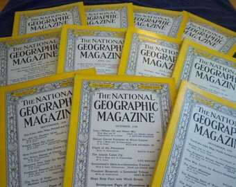 Vintage National Geographic Magazines from 1958. Vintage Travel Magazines.