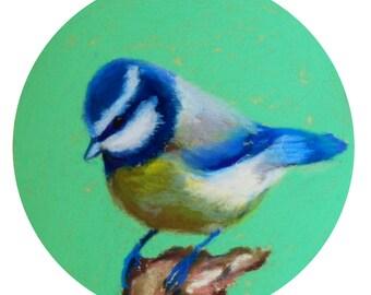 """Blue Birdie. 5""""1/4 Diameter - Original Pastel on Paper Painting. Art, colorful, cute, gift idea, home, decoration, acqua, mint, blue"""