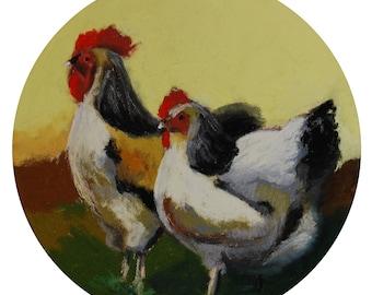 "Mr. & Mrs. Rooster. 7""1/2 Diameter - Original Pastel Painting. Art, gift idea, home, decoration, bird, hen, rooster, couple, kitchen"