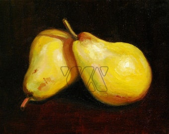 Yellow Pears - Original Oil on Canvas Painting. Art, colorful, kitchen, gift idea, home, decoration, fruit, pear,still life, wall art