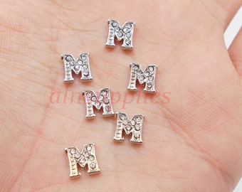 Capital Letter '' M '' Silver Tone Crystal Alphabet for Floating Lockets