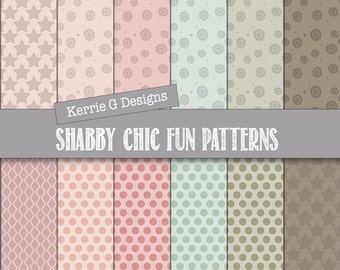 Shabby chic Digital paper pack,  polka dots scrapbooking paper, Downloadable, patterned paper, Instant Download , patterned paper pack