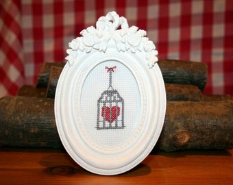 Heart In Cage Cross Stitch